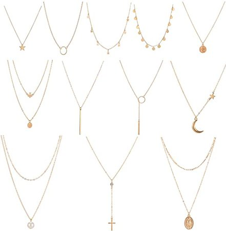 Amazon.com: 12 Pcs Gold Choker Necklace for Women Girls Handmade Layered Dainty Chain Necklace Set Coin Choker Necklace: Clothing