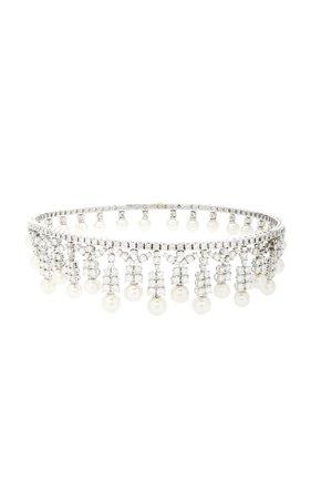 Giovane- 18K White Gold, Diamond And Pearl Choker