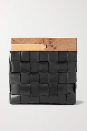 Wood Intrecciato Leather Clutch - Black