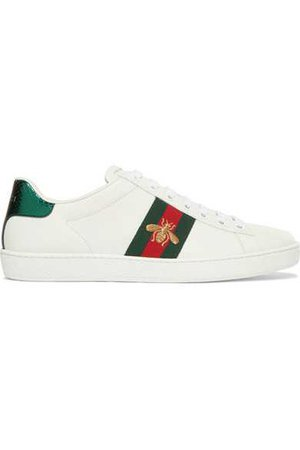 Gucci | Ace watersnake-trimmed embroidered leather sneakers | NET-A-PORTER.COM