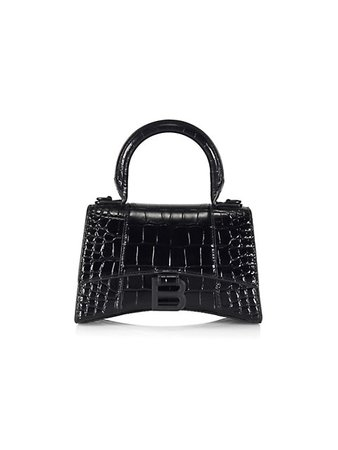 Balenciaga XS Hourglass Croc-Embossed Leather Top Handle Bag   SaksFifthAvenue