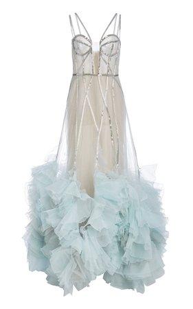 Embellished Ruffled Organza Gown by Marchesa | Moda Operandi