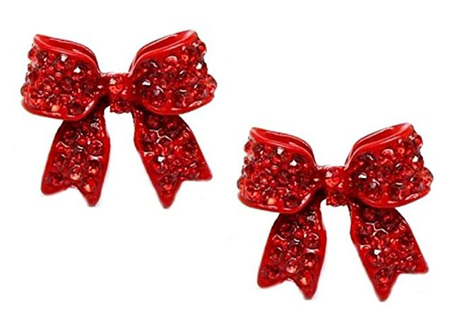 "Adorable 3/4"" Christmas Ribbon Bow Crystal Stud Earrings Fashion Jewelry Gift (Red): Betsey Johnson Earrings: Jewelry"