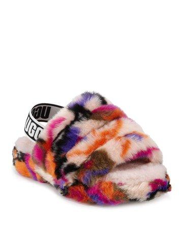 UGG Fluff Yeah Faux Fur Slide Slippers, Kids | Neiman Marcus