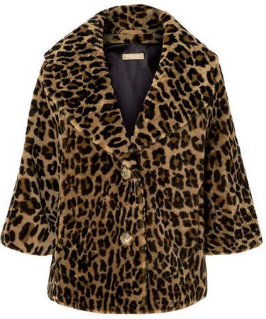 Leopard-print Shearling Coat - Brown