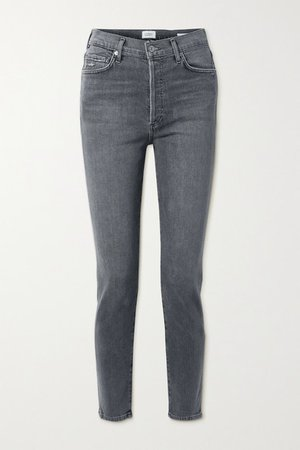 Olivia High-rise Slim-leg Jeans - Gray