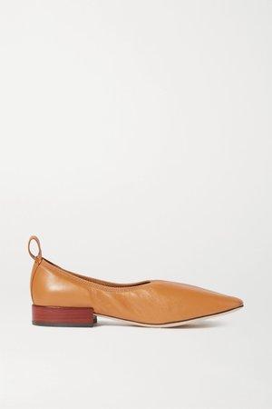 Tan Leather ballet flats | Loewe | NET-A-PORTER