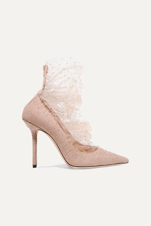 Antique rose Lavish 100 glittered tulle and suede pumps | Jimmy Choo | NET-A-PORTER