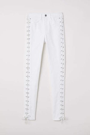 Twill Pants with Lacing - White