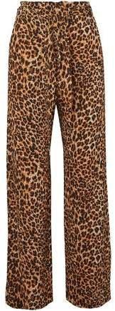 Luma Belted Leopard-print Plisse-jersey Straight-leg Pants