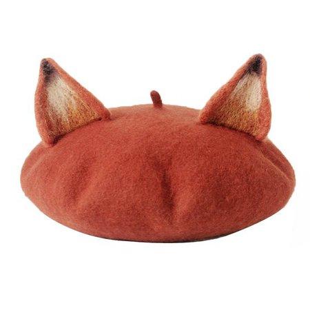 fox ear beret hat
