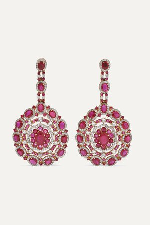 Rose gold 18-karat rose gold, ruby and diamond earrings | Amrapali | NET-A-PORTER