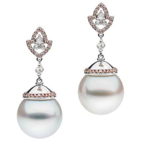 White Diamond Pink Diamond South Sea Pearl Earrings For Sale at 1stdibs