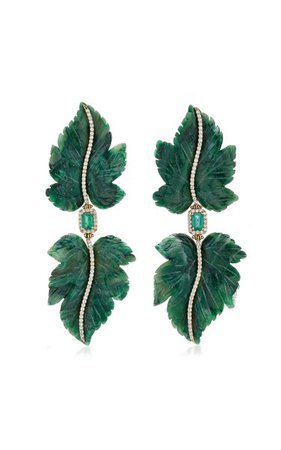 Double Leaf 18k Yellow Gold Jade, Emerald, Diamond Earrings By Casa Castro   Moda Operandi