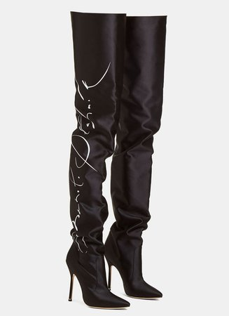 Vetements. + Manolo Blahnik printed satin thigh boots