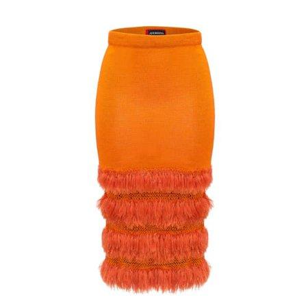 Golden Poppy Knit Skirt With Handmade Knit Details | ANDREEVA | Wolf & Badger