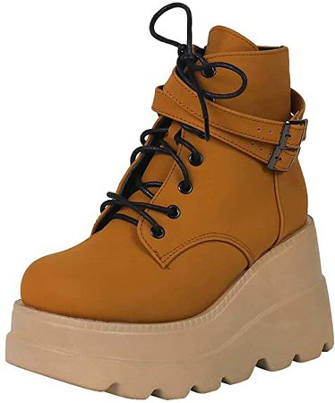 Amazon.com | CELNEPHO Chunky Platform Boots for Women, Square Toe Lace up Zip High Heel Combat Wedge Ankle Boots | Ankle & Bootie