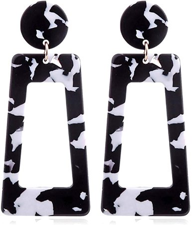 Amazon.com: Acrylic Dangles Drop Earrings For Women And Girls Resin Lightweight Statement Stud Earrings(Black): Clothing