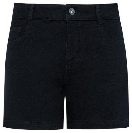Black Denim Notch Side Shorts