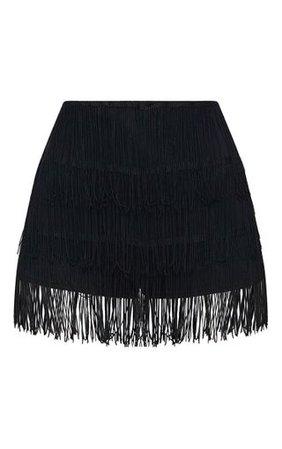 Black Tiered Fringe Shorts | Shorts | PrettyLittleThing