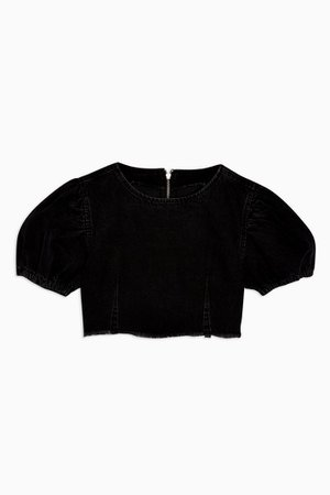 Washed Black Denim Puff Sleeve Crop Top | Topshop