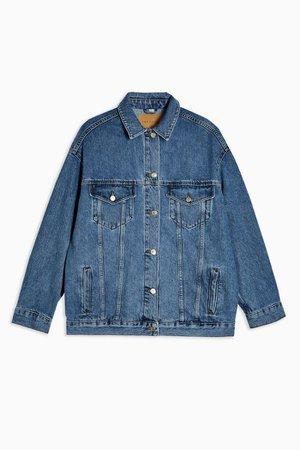 Blue Denim Super Oversized Jacket   Topshop