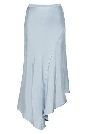 ANINE BING Bailey Asymmetrical Silk Skirt blue