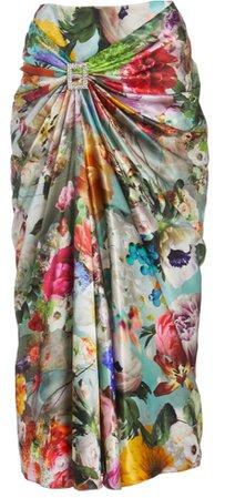 Prabal Gurung Gathered Floral Satin Skirt
