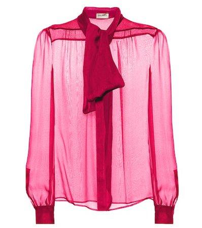 Checked Silk Mousseline Blouse - Saint Laurent | Mytheresa