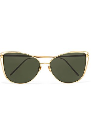 Linda Farrow | Cat-eye gold-tone sunglasses | NET-A-PORTER.COM