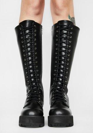 Current Mood Knee High Combat Boots - Black | Dolls Kill