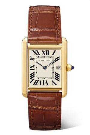 Cartier | Tank Louis Cartier 25.5mm large 18-karat gold and alligator watch | NET-A-PORTER.COM
