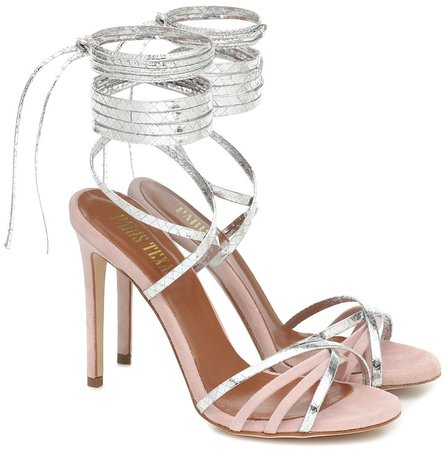 Embossed leather and suede sandals