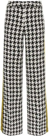 Off-White high waisted virgin wool blend check side stripe trousers