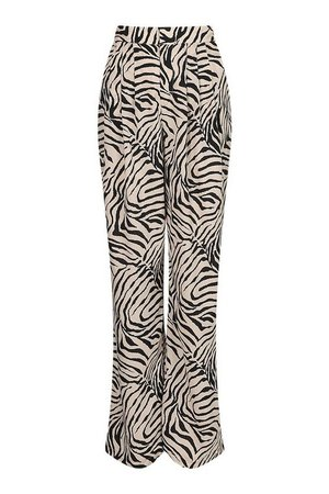 Tiger Print High Waisted Wide Leg Trousers | boohoo brown