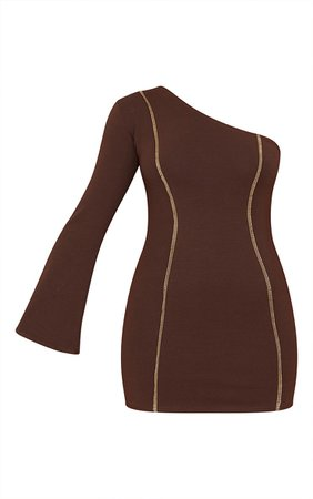 Chocolate Asymmetric Binding One Shoulder Bodycon Dress   PrettyLittleThing USA
