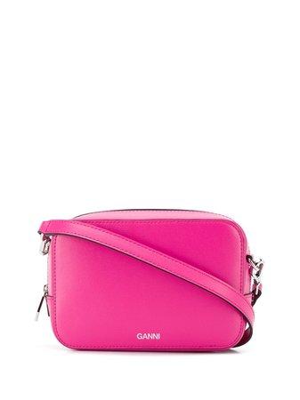 Ganni Logo Print Crossbody Bag A2169 Pink | Farfetch