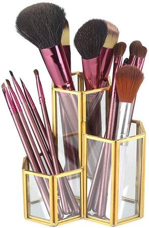 visionreast Makeup Organiser Glass Makeup Brushes Holder Gold Geometry Cosmetic Accessory Stand with 3 Compartments for Desk Organiser: Amazon.co.uk: Kitchen & Home
