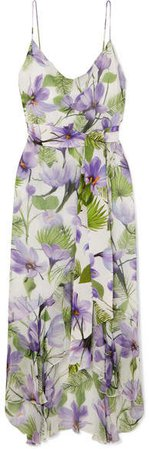Alice Olivia - Tevi Ruffled Printed Georgette Midi Dress - Lilac