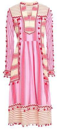 Stephanie Embroidered Striped Cotton-gauze Midi Dress