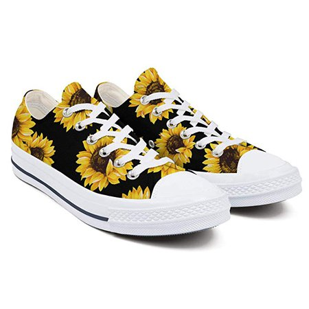 Amazon.com | Heart Wolf Sunflower Pattern Black Background White Women's Low-Cut Laced Canvas Shoes Fashion Printed Flat Shoes Non-Slip Durable Leisure Shoes | Fashion Sneakers