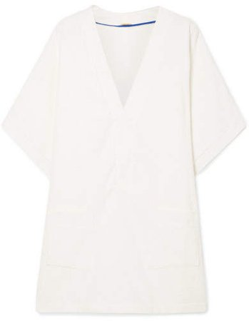 Positano Cotton-terry Mini Dress - Cream