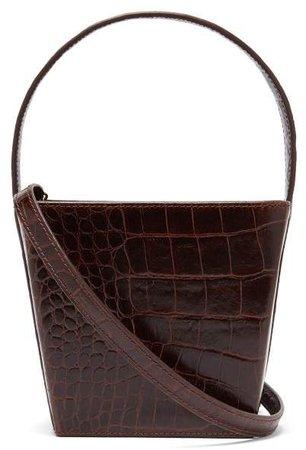 Edie Crocodile Effect Leather Bucket Bag - Womens - Brown