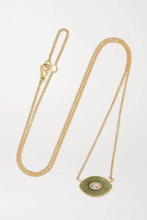 Gold Talisman 18-karat gold, enamel and diamond necklace | Brooke Gregson | NET-A-PORTER