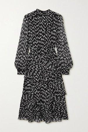 Isa Ruffled Printed Silk-georgette Midi Dress - Black