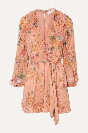 Peach Zinnia belted ruffled floral-print silk-crepon playsuit   Zimmermann   NET-A-PORTER