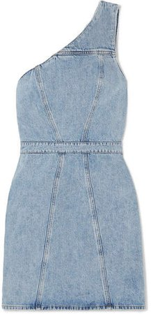 AGOLDE - Annex One-shoulder Denim Mini Dress - Light denim