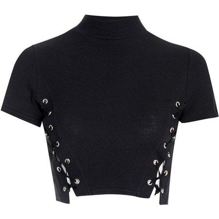 black Side lace up top tee shirt high neck crop tops t shirt women 2017 summer sexy short tshirt short tshirt crop top t-shirtt-shirt women - AliExpress