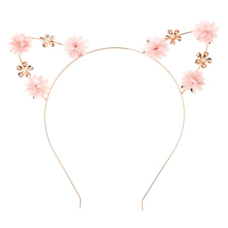 Pastel Petal Cat Ears Headband - Pink