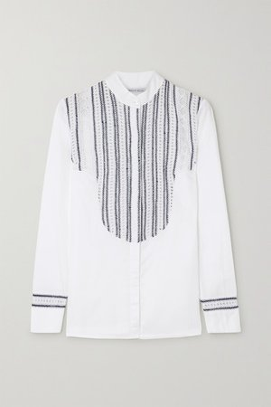 Embroidered Crocheted Cotton Shirt - White